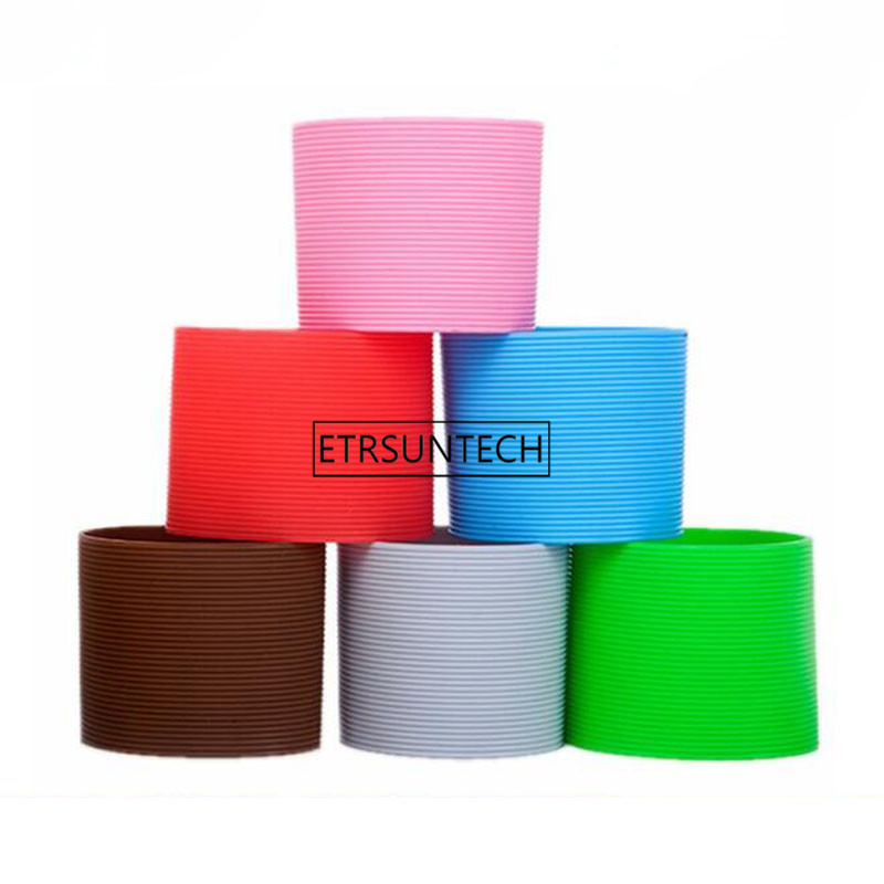 Solid Color Silicone Heat resistant Cup Sleeve Protective Non slip Water Glass Cover for Bottle Mug