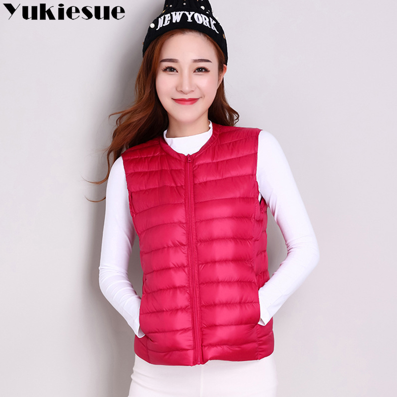 2018 female light down vest vest Korean version of the sleeveless round neck down jacket female plus size women's down jacket
