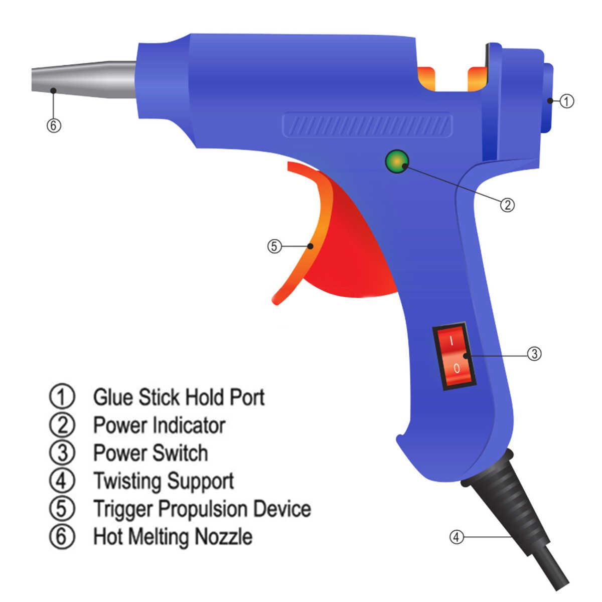 20W Hot Melt กาวปืน 30pcs 7 มม.* 200 มม.กาว Stick อุตสาหกรรมมินิปืน Thermo ไฟฟ้าเครื่องมือ Z50