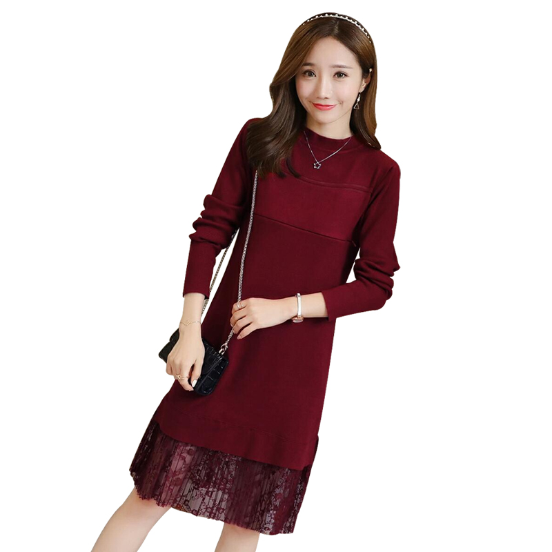 Fashion Lace Nursing Breastfeeding Dress for Maternity Long Sleeve Pregnant Spring Autumn Clothing Dress Causal Pregnancy C495 spring basic maternity clothing maternity dress one piece slim long sleeve basic d0781 one piece dress