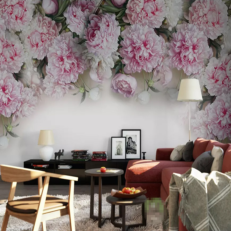 Custom Mural Wallpaper For Walls 3D European Style Romantic Peony Flowers Living Room Sofa TV Background Wall Papers Home Decor