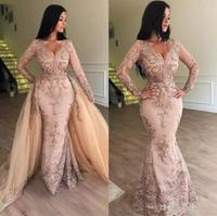 2019 New Sexy Mermaid Prom Dresses Long Sleeve overskirt Hand Made Flowers Appliques Overskirts Sweep Train Party Evening Gowns
