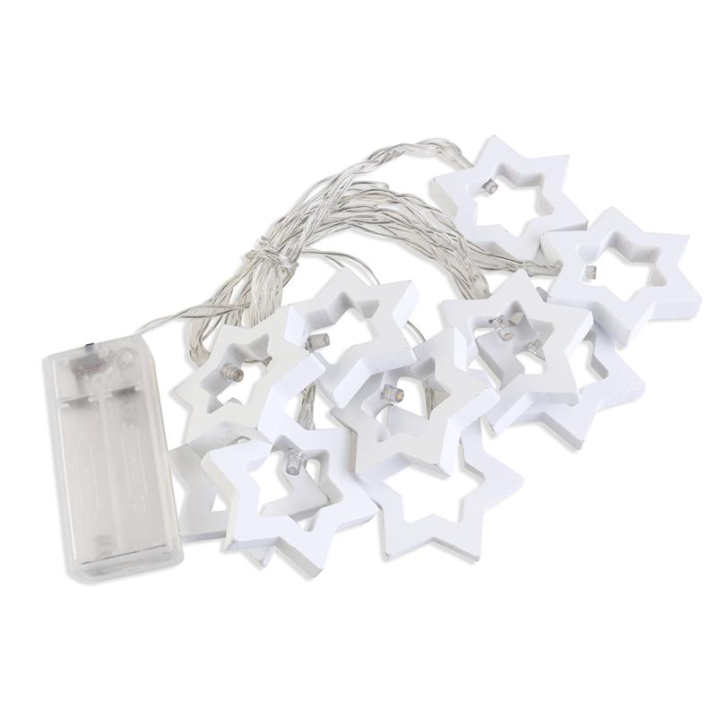Waterproof Wooden Star String Lighting LED Fairy Light For Festival ValentineS Day Birthday Party Wedding Shop Decoration