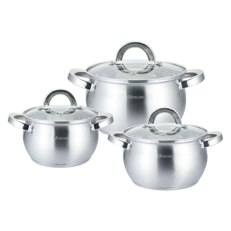 6 pièces en acier inoxydable Casserole Casserole cuisine marmite ensembles ustensiles de cuisine ustensiles de cuisine Kichenware ensembles cuisinière à Induction