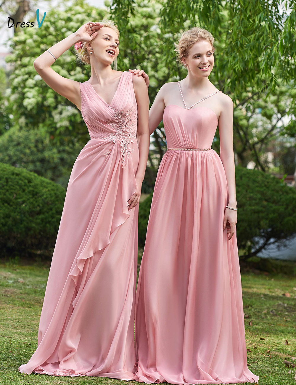 Online get cheap train bridesmaid dress aliexpress alibaba dressv pink sexy v neck sleeveless a line bridesmaid dress zipper up appliques pleat ombrellifo Images