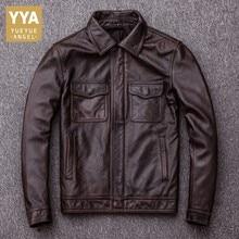 Marca clásico de los hombres de piel de vaca Moto chaquetas de cuero genuino  de los hombres chaqueta Casual de cuero Real abrigo. 221c7cac0f0f