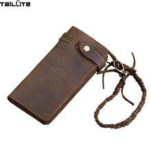 TAILUTE Genuine Crazy Horse Cowhide Leather Men Wallets Vintage Purse With Card Holder Vintage Long Wallet Clutch Wrist Bag