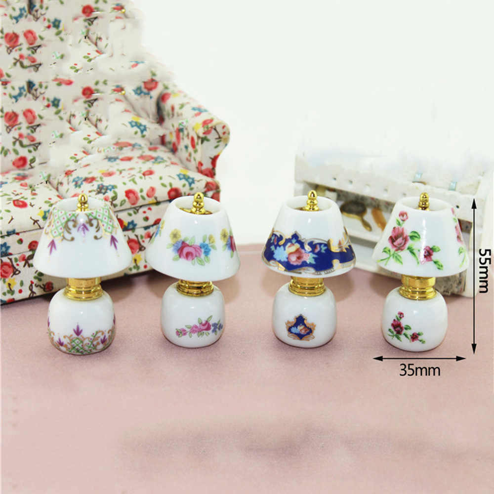 1/12 Dollhouse Miniature Accessories Mini Ceramic Desk lamp  Simulation Bedside Lamp Model Toys for Doll House Decoration