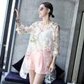 Plus Size verão 2015 mulheres Floral Kimono Cardigan O pescoço faixas de manga longa Chiffon Cardigan blusa casaco protetor solar