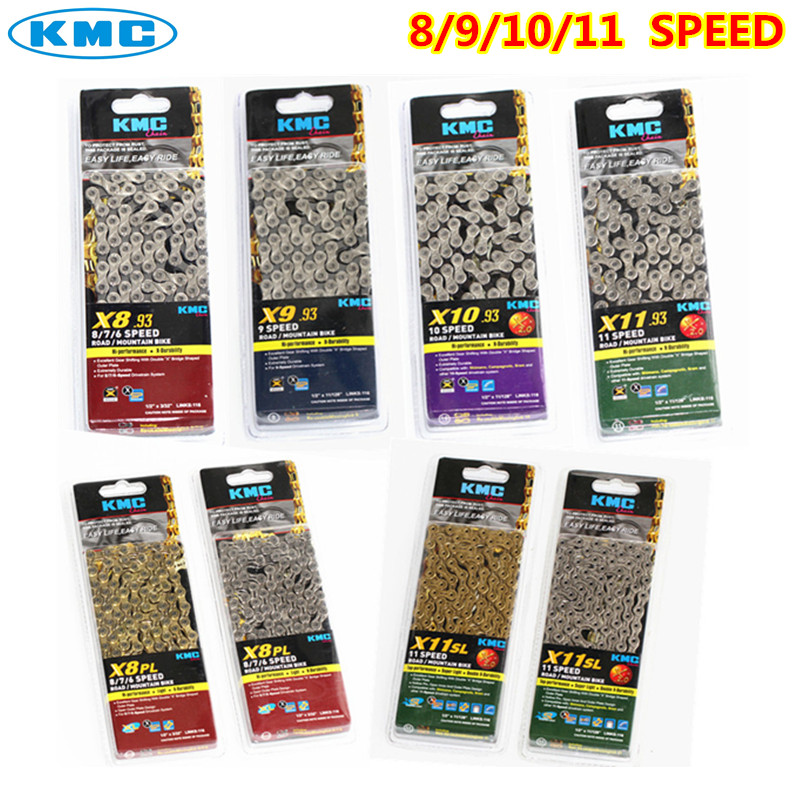 kmc chain x8 x9 x10 x10sl x11 x11sl gold silver chain mtb road bicycle for shimano sram chain 8 9 10 11 SPEED 116L chain bike цены