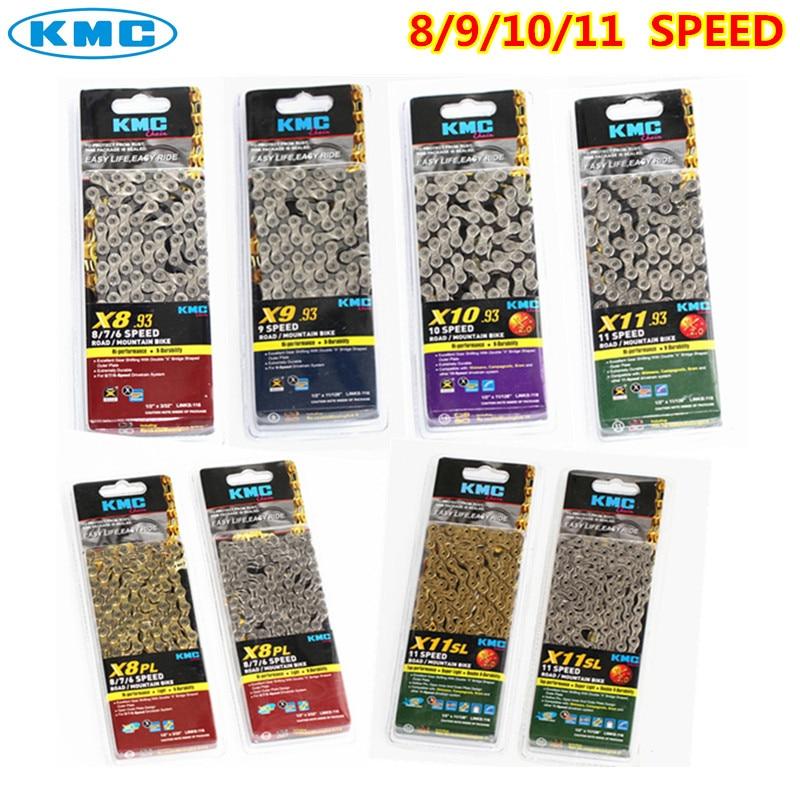 Kmc cadena x8 x9 x10 x10sl x11 x11sl cadena oro plata camino de mtb bicicleta shimano cadena 8 9 10 11 velocidad 116L bicicleta cadena