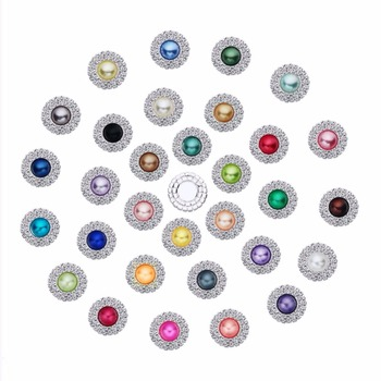 Rhinestone Buttons DIY pearl 20mm Invitation flatback Accessory DIY craft wedding scrapbook Free shipping 50PCS/Lot BTN-5228