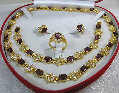 women's jewelry purple Necklace Bracelet Earring Ring>>plated watch wholesale Quartz stone CZ crystal