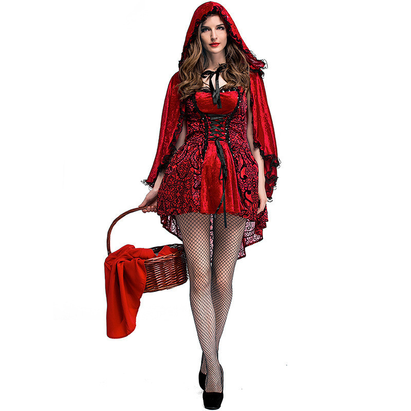 2017 Halloween Carnival Little Red Riding Hood Women  Princess Nightclub Queen Gothic Dress Red Cap Cloak For Masquerade Party