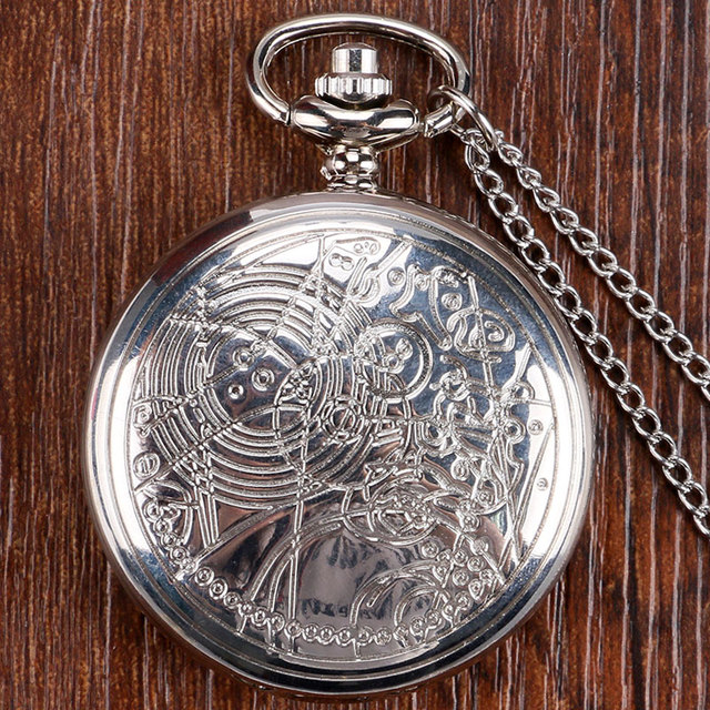 Hot Sale Silver Doctor Who Theme Pocket Watch High Quality Fob Watch With Chain