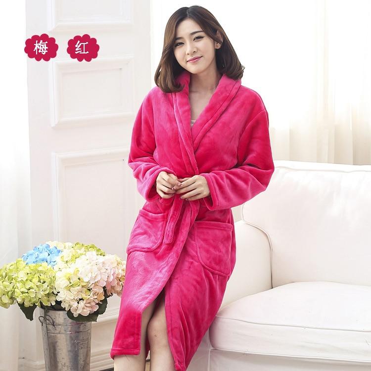 Autumn And Winter Bath Robe Male Long sleeve Women Lounge Sleepwear Lovers  Thickening Coral Fleece Bathrobe Flannel M L Xl Xxl-in Robes from Underwear  ... 900cb6bab