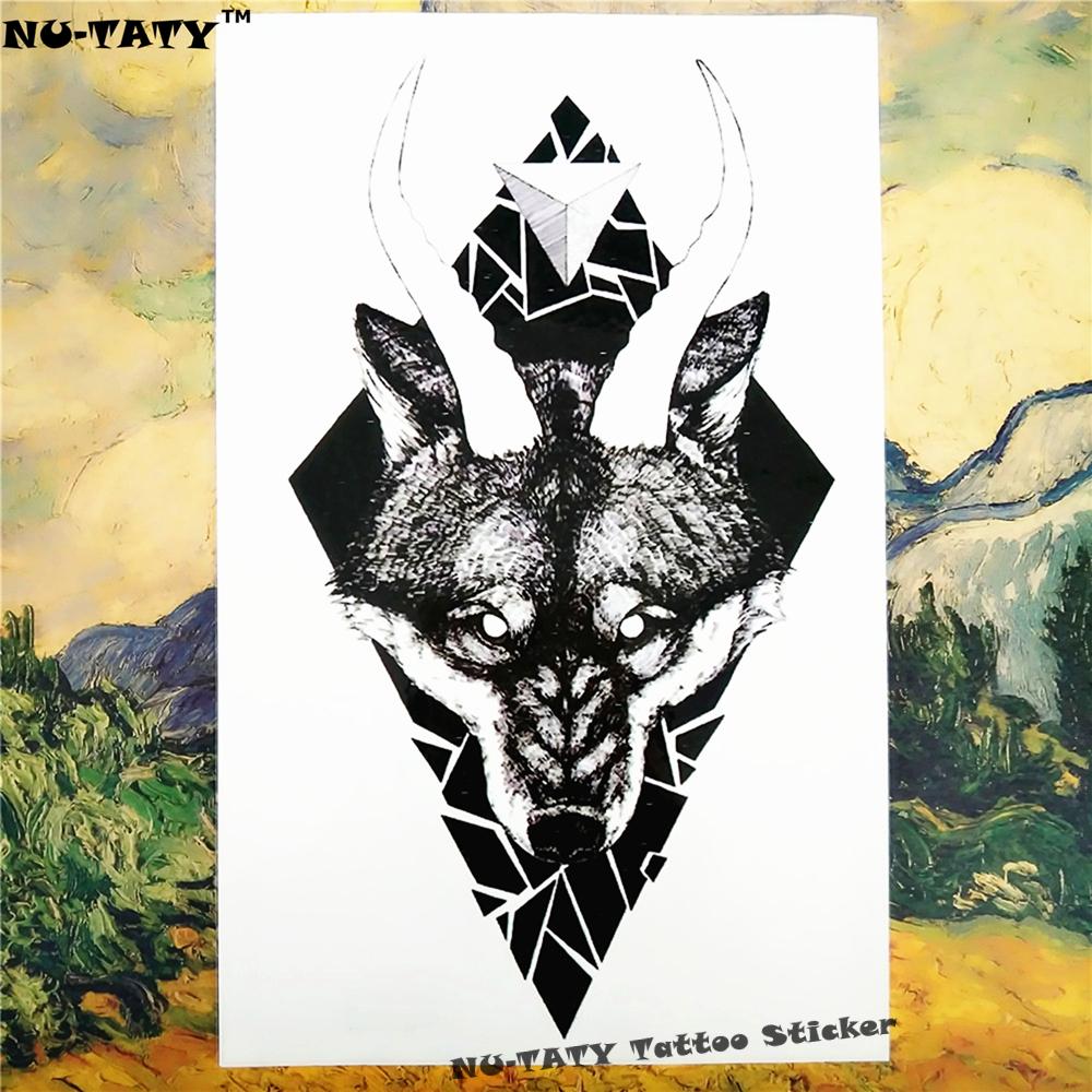 Nu-TATY Black Thorn Wolf Temporary Tattoo Body Art Flash Tattoo Car Styling Sticker 12*cm Waterproof Henna Glass Wall Sticker 1