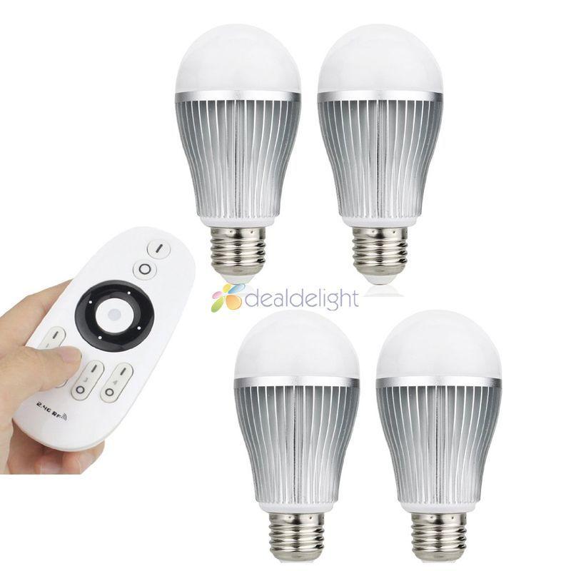 Mi-Light 2.4G 4-zone Wireless Remote+4pcs 9W E27 Wireless CW/WW Dual White LED Bulb Light Lamp Color temp Adjust keyshare dual bulb night vision led light kit for remote control drones