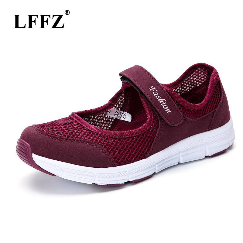 LFFZ 2018 New Spring Summer Air Mesh Casual Shoes For Women Flat Soft Bottom Sneakers Breathable Mesh Shoes Women JH131 shaloxi spring summer new breathable women shoes mech flat new style casual outdoor fashion soft black women shoes hot sales a77