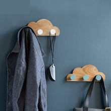 ФОТО collalily Nordic Oak Wood Modern Design kids room Wall decoration Door clothes Robe Hook Rack corridor rails hanger cloud holder
