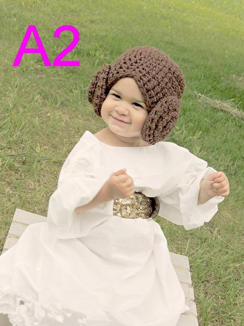 8c70ffdf5 US $153.9 5% OFF|Princess Leia Style Crocheted Baby Hat From Star Wars For  Girl Newborn Costume With Big Flower Halloween / Cosplay Wig 30pcs/lot-in  ...