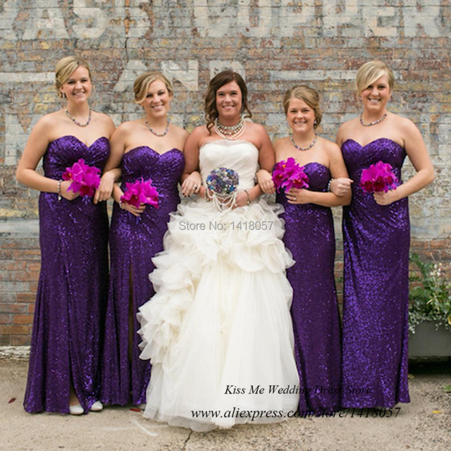 Sparkly Sequin Plus Size Women Long Purple Bridesmaid Dresses Mermaid 2017 Wedding Party Dress Robe Demoie