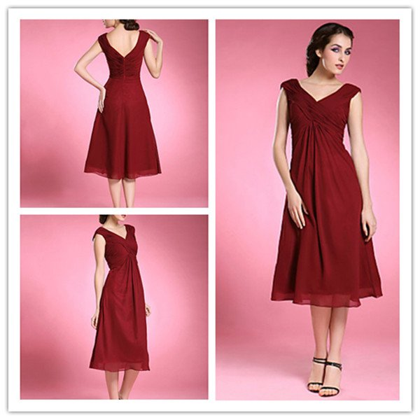 Deep red mother of the bride dresses