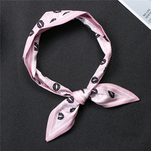 Office Small Neck Scarfs for Women Fashion Lips Print Silk Skinny Scarf Lady Hand Bag Scarves Head Tie Female