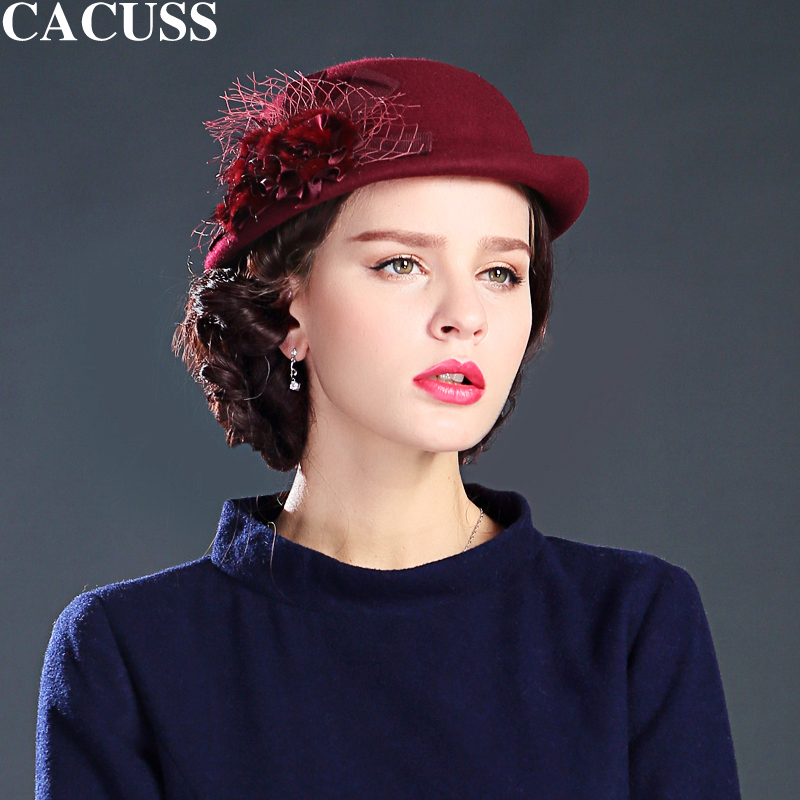 Cacuss brand hats women elegant hats autumn winter fashion hats keep warm  floral wool high quality 032d1f1c7a78