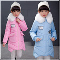2016 New Winter Girls Jacket Cotton-padded Clothes Fahion For Collar Hooded  Winter Long Thick Warm Children's Coat Jacket Girl
