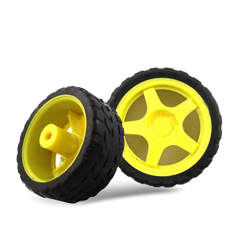 1x Smart Car Robot Plastic Tire Wheel with DC 3-6V Gear Motor for Robot 65*27MM