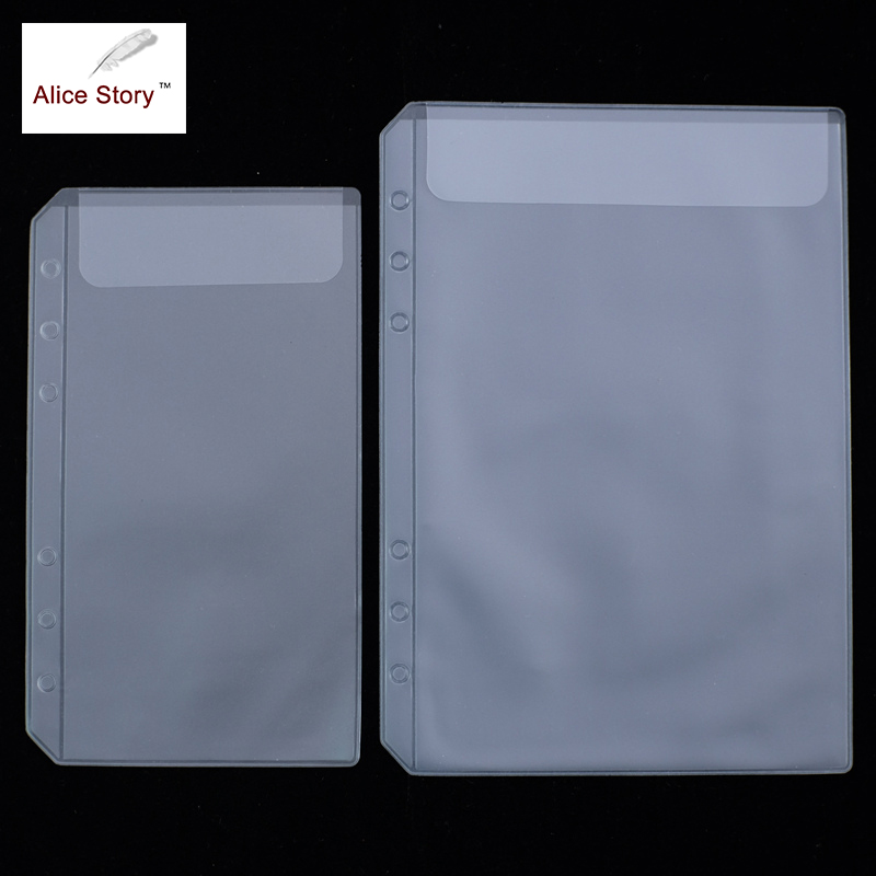 โน้ตบุ๊คเกลียวถุงเก็บพีวีซีรับบัตรกระเป๋า A5 A6 หลวมใบไดอารี่ขดลวดแหวน Binder ฟิลเลอร์ปฏิทินถุงซิป