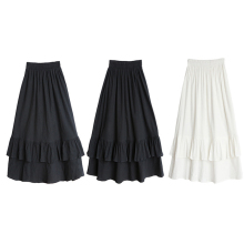 Women skirt Cotton Ruffle long summer 2019 robe femme Solid color Elasticated high waist vogue New arrive fashion
