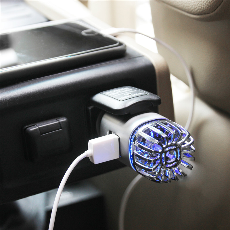 Portable Car Air Purifier 12V Negative Ions Air Cleaner Ionizer Air Freshener Auto Mist Maker Pm2.5 Eliminator Cup Car Charger
