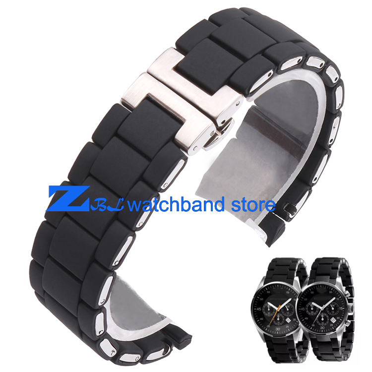 Rubber watchband Stainless steel in Black silica gel for AR5858 male 23mm AR5868 female 20mm watch strap wristwatches band