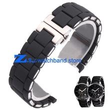 Caoutchouc bracelet en acier Inoxydable en Noir gel de silice pour AR5858 mâle 23mm AR5868 femelle 20mm montre bracelet montres bande