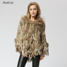 SRR002-1 Real Knitted natural rabbit & raccoon Fur Shawl poncho stole shrug cape robe tippet wrap women's winter warmer