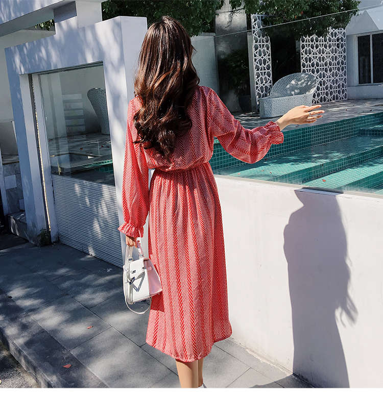 Women chiffon dress 2019 spring autumn female vintage print elegant a-line dress long sleeve loose casual office lady dress 19