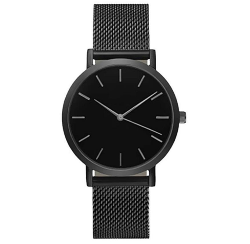 RMM new product fashion stainless steel hook buckle glass men watchs round quartz simple noble elegant black silver gift