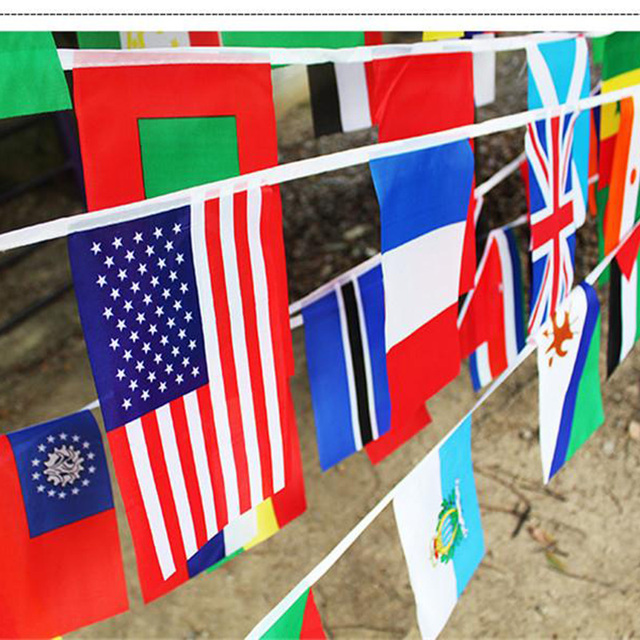 International 100 different countries String Flags Celebration Dacron Banner