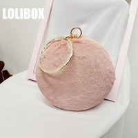 LOLIBOX New Fur Super Dense Hair Small Round Bag With Metal Handle Ladies Small Clutch Bag Day Clutches Crossbody Bags For Women
