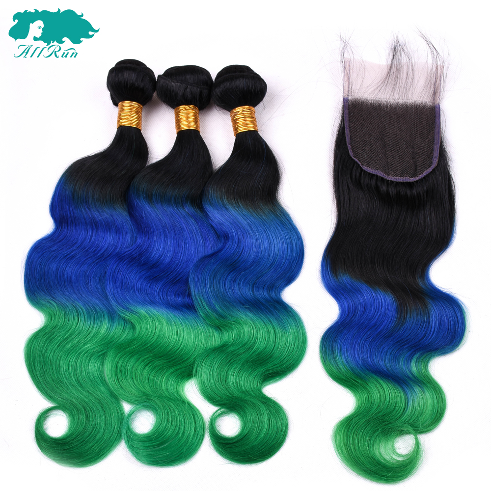 ALLRUN Brazilian Body Wave 100% Human Hair Ombre TB/Dark Blue/Green 3 Bundles With 4*4 Lace Closure Non-Remy Hair Extension