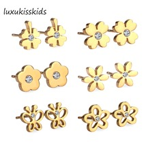 LUXUKISSKIDS New 6Pairs Box Stainless Steel Mixed Stud Earrings with Crystal Cubic Zirconia Fashion Earrings Women
