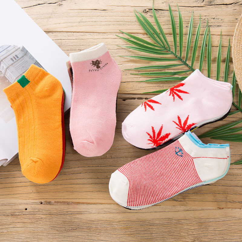 2019 Summer Women Sock Print Cotton Striped Comfortable Unisex Striped 5 Pair Set