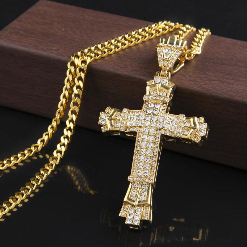 Cross Pendant Necklace Hip Hop Jewelry Collier Rock Fashion Mens Necklaces 2019 Hiphop Gold Silver Chain DJ Rapper Jewellery
