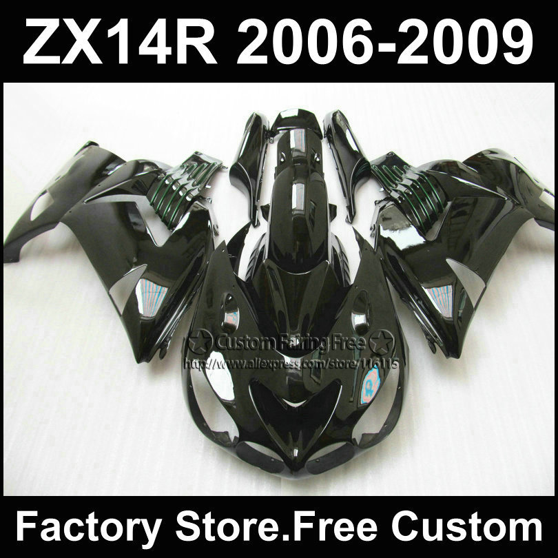 ABS plastic Injection fairing kit for Kawasaki 2006 2007ZX 14R 2008 2009  Ninja ZX14R 06-09 full black motorcycle fairings parts aftermarket free shipping motorcycle parts eliminator tidy tail for 2006 2007 2008 fz6 fazer 2007 2008b lack