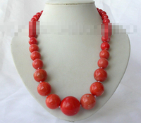0967 round natural red coral necklace