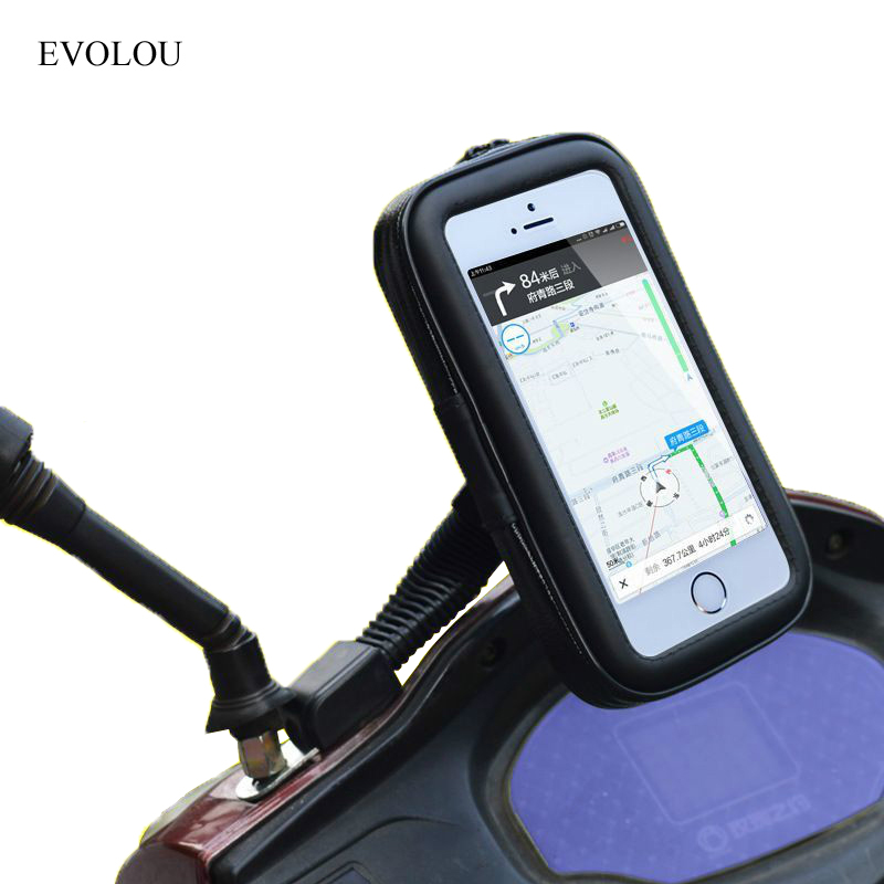 Universal Motorcycle Holder Cell Phone Support Moto Stand Case For iphone x 8 7 S8 4X GPS Waterproof Bag Rear View Mirror Holder pochette étanche pour téléphone