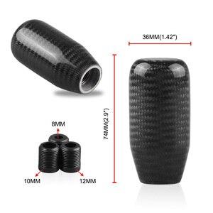 Image 3 - Dźwignia zmiany biegów z włókna węglowego gałka ręczny kij Shifter M10 * 1.5 z adapterem czarny dla Universal Car