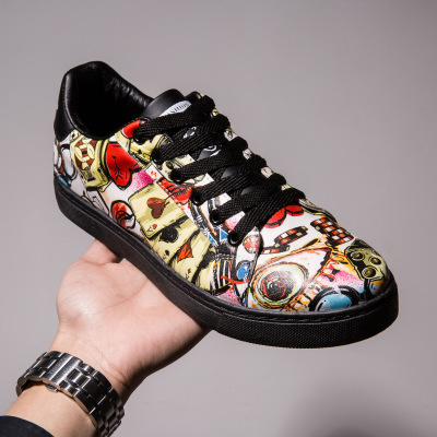 2017 spring and summer new men's shoes fashion graffiti shoes painted casual thick sole shoes increased men's shoes